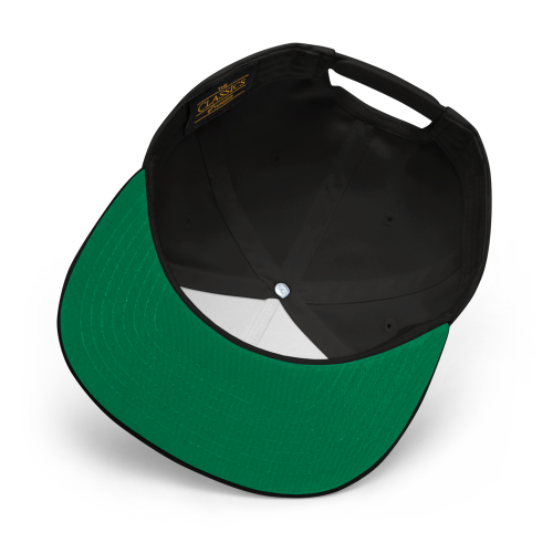 Emblem with London and Worse For Wear logo on a flat bill snapback cap