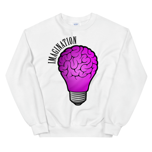 Imaginative illustration of a brain inside a bulb on sweatshirt