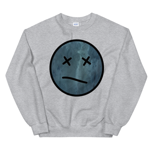 Meh face design called Sketch on a men's sweatshirt jumper