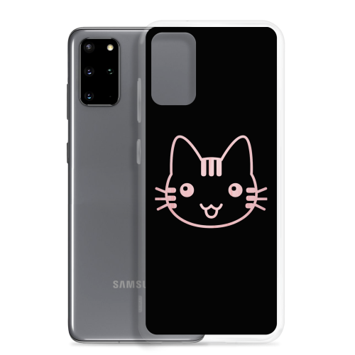 Cute looking pink cat illustration on a samsung phone case