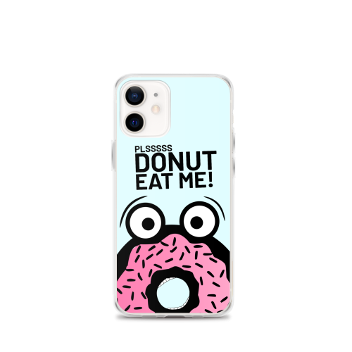 Design of blue cartoon donut man in fear of being eaten on a iphone case