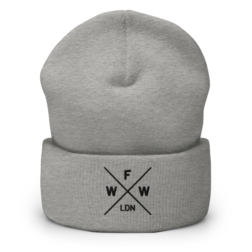 Emblem with London and Worse For Wear logo embroidered on a light coloured cuffed beanie hat