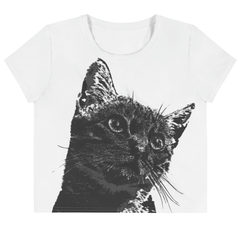 Cute looking cat illustration on a crop top