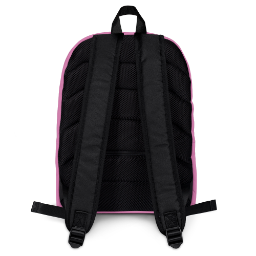 Pink and white checkered design on a backpack bag