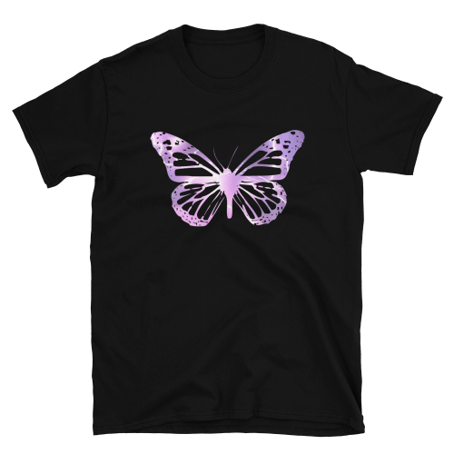 Electric purple butterfly design on a women's t-shirt