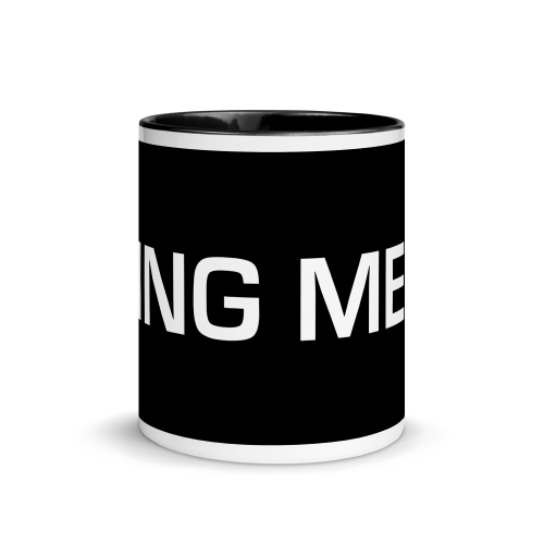 Fking Mess text design on a ceramic mug with colour inside and on handle