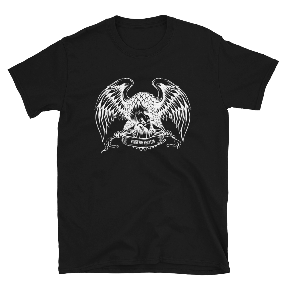 Illustration of an eagle with open wings on a men's t-shirt