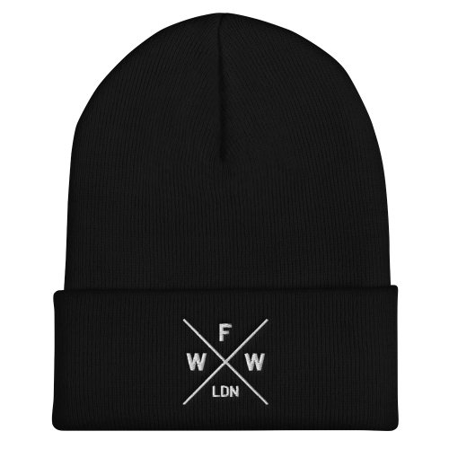Emblem with London and Worse For Wear logo embroidered on a dark coloured cuffed beanie hat