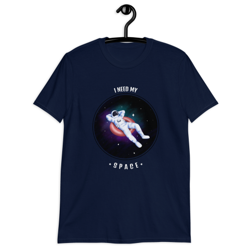 Astronaut lounging in space, enjoying their space on a women's top