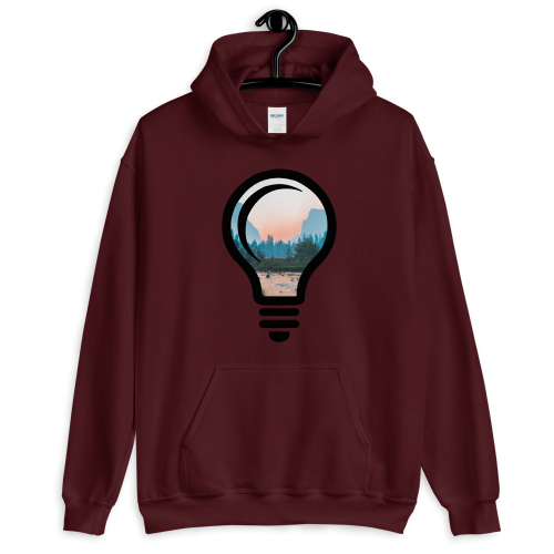 A beautiful nature landscape image, cropped into the outline of a bulb on a men's hoodie