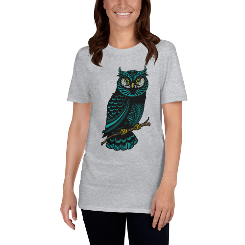 Colourfully designed illustration of an owl on a women's top
