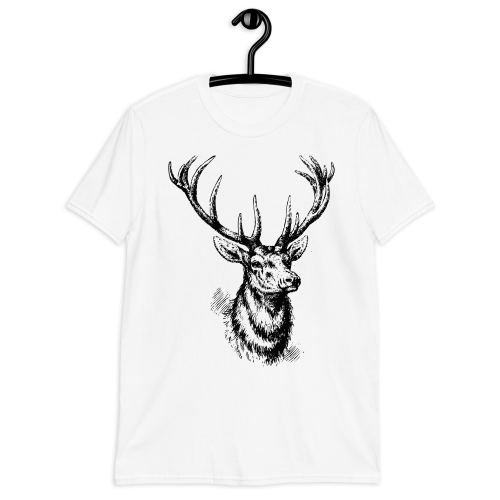 Graphic design of a black sketched style deer on a women's top