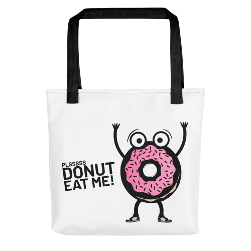 Tote bag with design of cartoon donut man in fear of being eaten