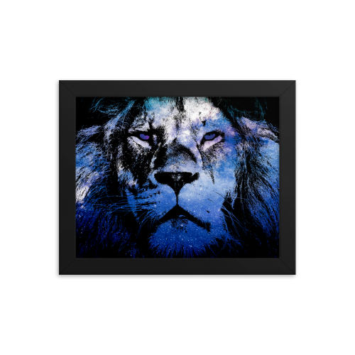 Framed wall art poster with illustration showing the outline of a lion filled in with a galaxy star