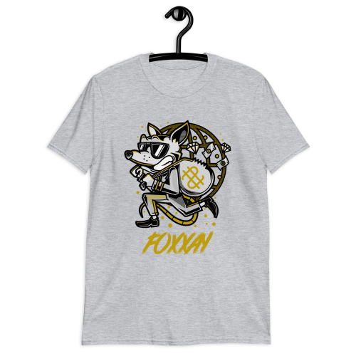 Cool cartoon fox on the run after a bank robbery on a men's t-shirt