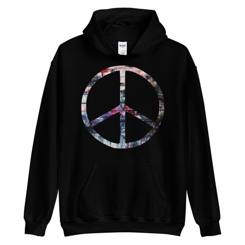 Colourful peace symbol on a women's hoodie jumper