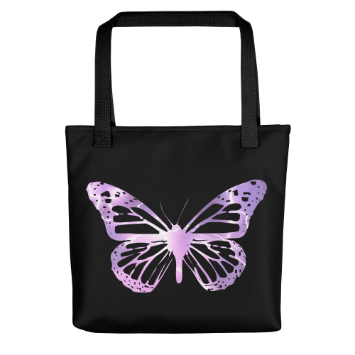 Electric purple butterfly design on a tote bag
