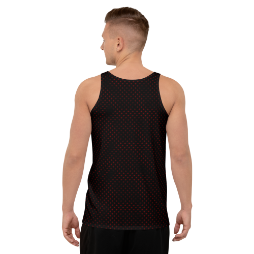 Red star style dots on a men's premium print tank top