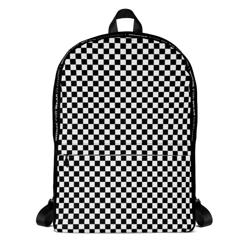 Black and white checkered design on a backpack bag