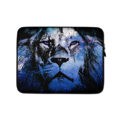 Fabric laptop sleeve with illustration showing the outline of a lion filled in with a galaxy star