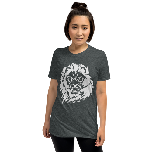 Illustration of a white lion with the caption fearless on a women's top