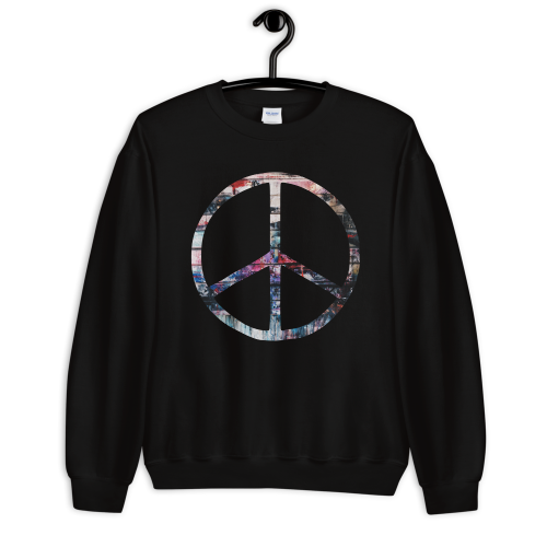 Colourful peace symbol on a women's sweatshirt jumper
