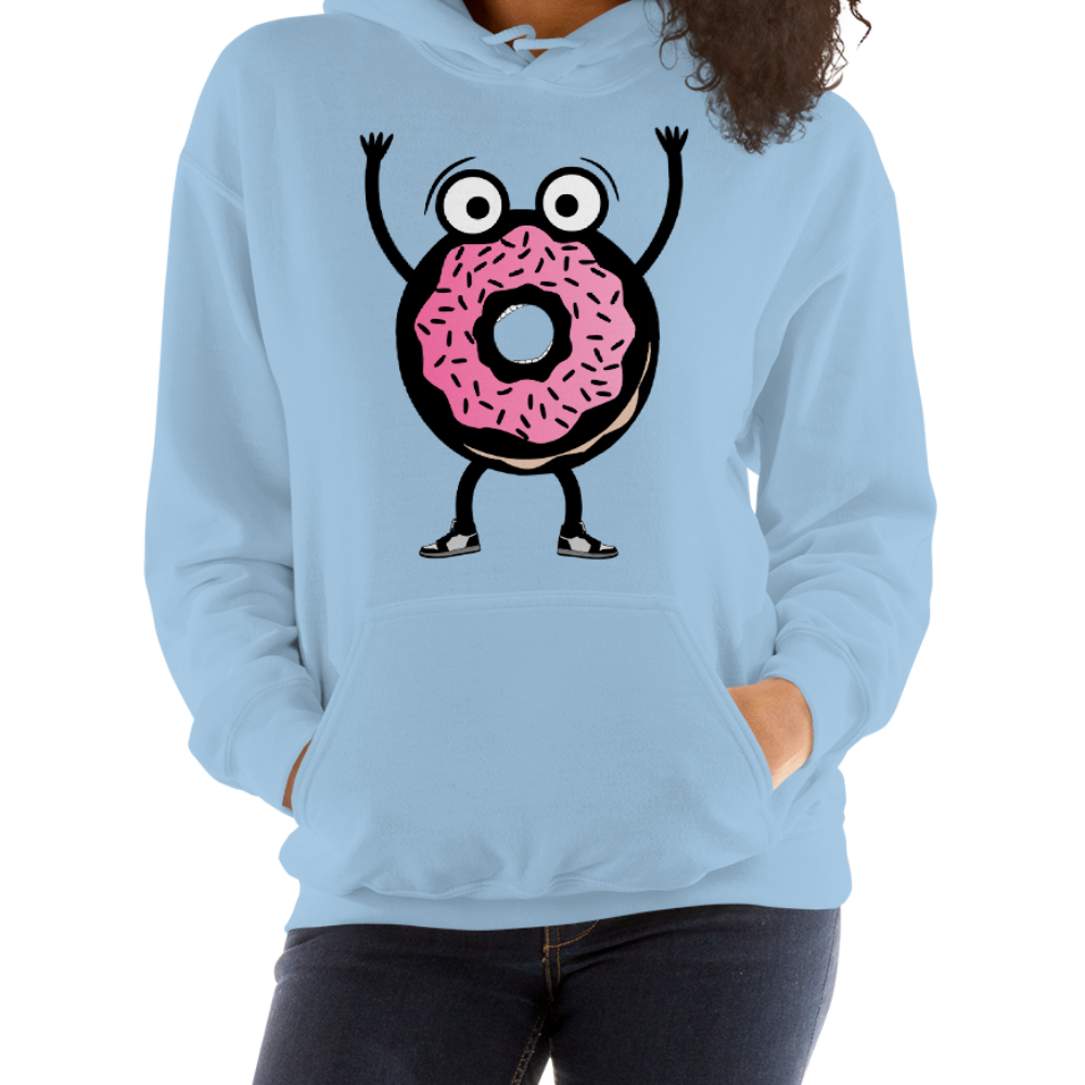 Cartoon donut man in fear of being eaten design on a women's hoodie