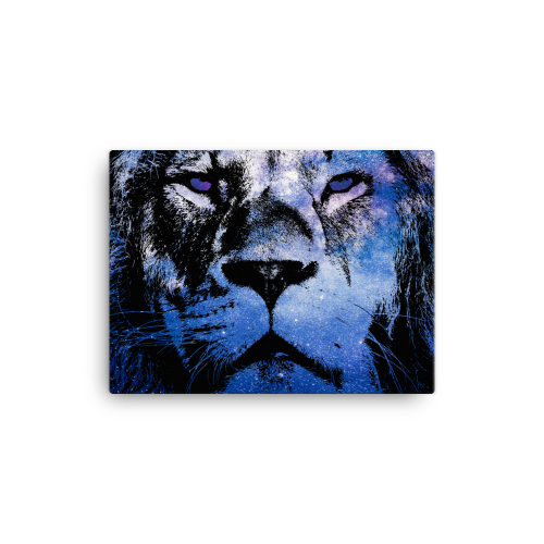 Canvas wall art with illustration showing the outline of a lion filled in with a galaxy star