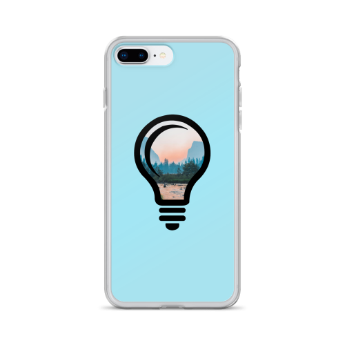 A beautiful nature landscape image, cropped into the outline of a bulb on a blue iphone case