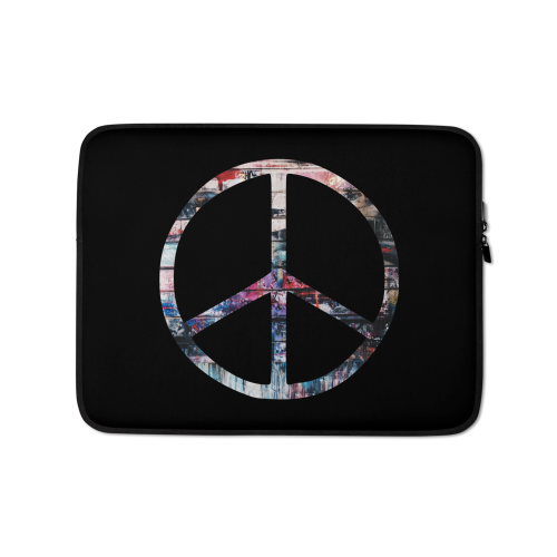 Colourful peace symbol on a laptop sleeve