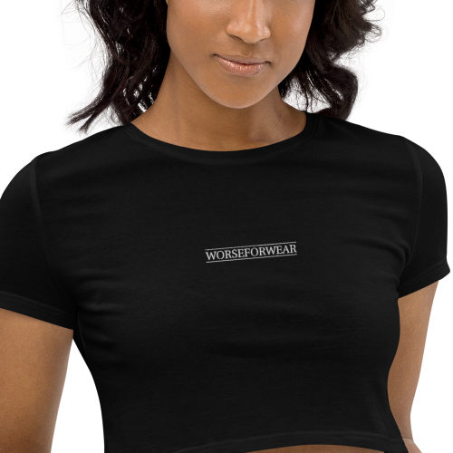 Stylish, slick looking Worse For Wear Clothing logo on an embroidered organic crop top