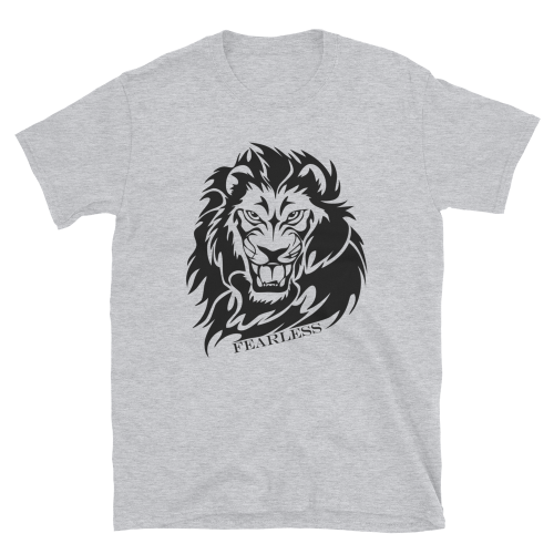 Illustration of a lion with the caption fearless on a men's t-shirt