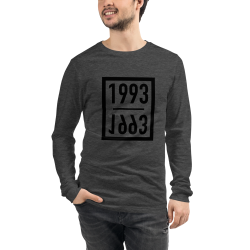 Representing the year 1993 on a men's long sleeve dark t-shirt