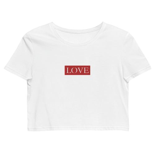 Text saying love embroidered on a women's organic crop top