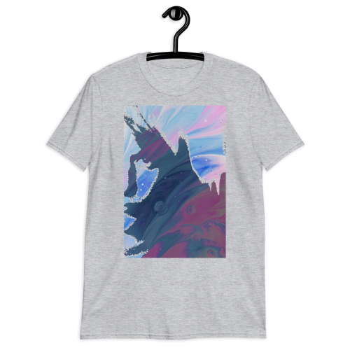 Colourfully edited trippy portrait of face on a men's t-shirt