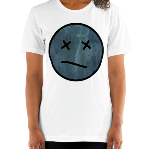 Meh face design called Sketch on a women's top