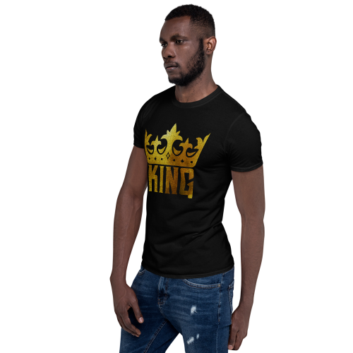 Graphic of gold crown with the caption king on a men's t-shirt