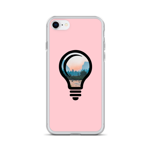 A beautiful nature landscape image, cropped into the outline of a bulb on a pink iphone case
