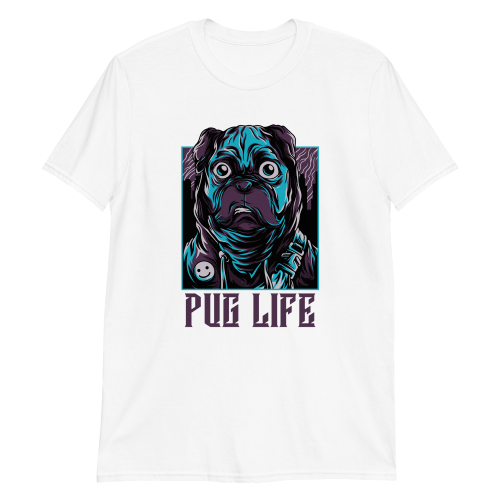 Cool looking cartoon pug with pug life caption on a women's top