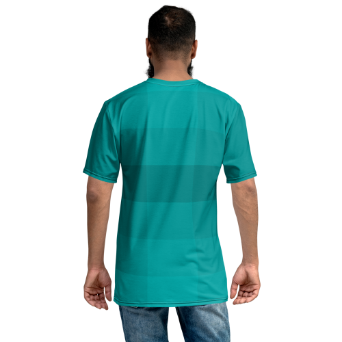 A pattern of different blocks in various shades of blue on a premium printed men's t-shirt