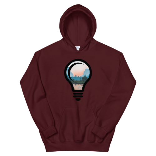 A beautiful nature landscape image, cropped into the outline of a bulb on a women's hoodie