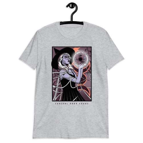 Illustration of a young witch controlling her chaos magic on a women's top