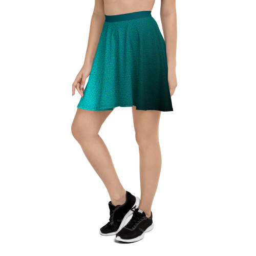 Blue faded skater skirt with white polka dots