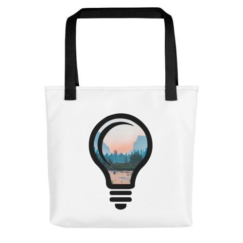 A beautiful nature landscape image, cropped into the outline of a bulb on a tote bag