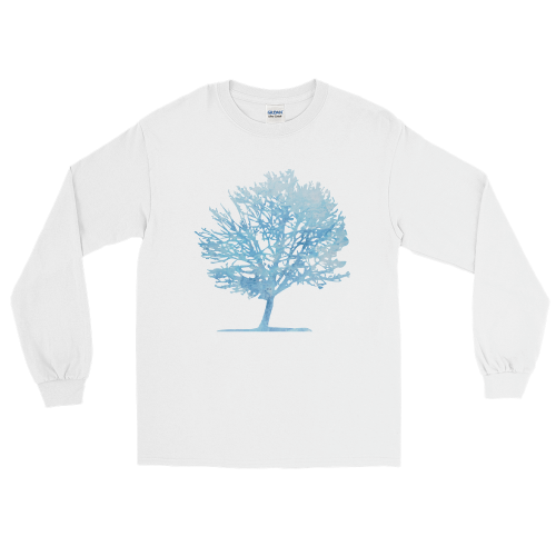 Ice blue colour graphic of a tree on a men's long sleeve t-shirt