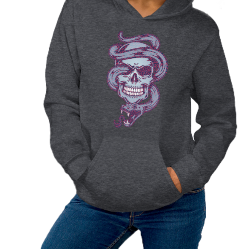 Tattoo style design of a purple snake coming out of a skull on a women's hoodie