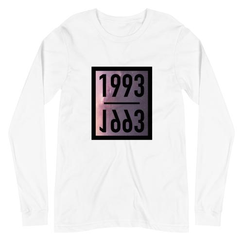 Representing the year 1993 on a men's long sleeve coloured t-shirt