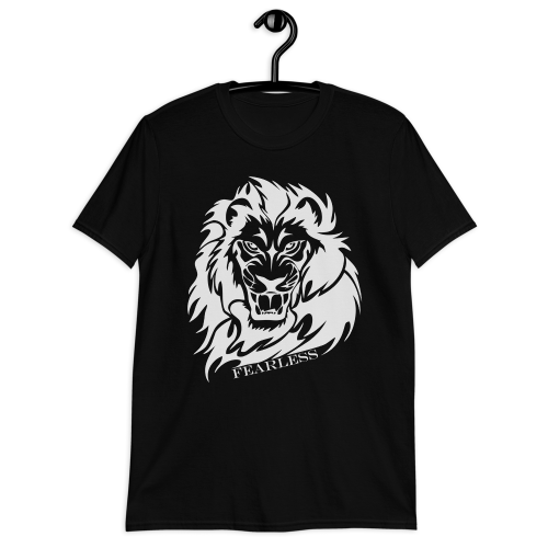 Illustration of a lion with the caption fearless on a men's black t-shirt