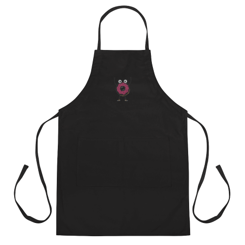 Embroidered cartoon donut man in fear of being eaten design on a cooking apron