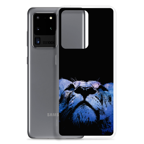 Illustration of a young lion made of stars on a samsung phone case